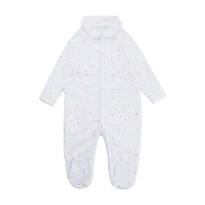 Marie-Chantal Angel Wing Pint Sleepsuit with Mittens – Pink