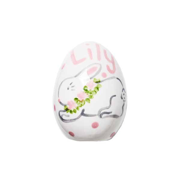 Caroline & Co Personalized Hand Painted Bunny Egg – Pink 2