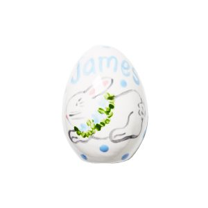 Caroline & Co Personalized Hand Painted Bunny Egg - Blue