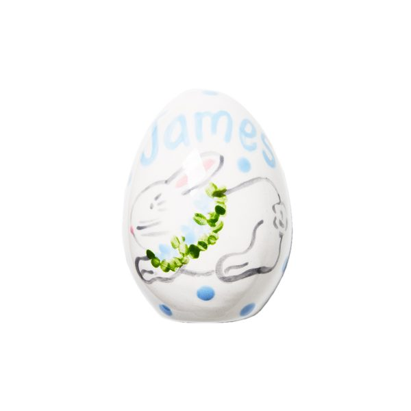 Caroline & Co Personalized Hand Painted Bunny Egg – Blue 2