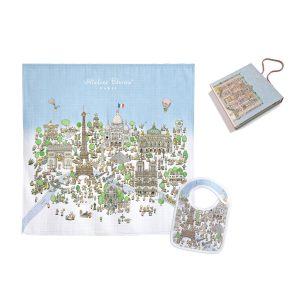 Atelier Choux Swaddle & Small Bib Gift Box Set - Paris