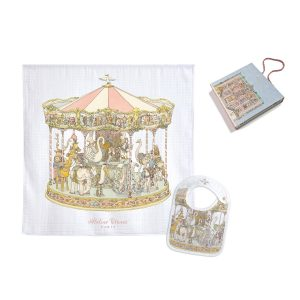 Atelier Choux Swaddle & Small Bib Gift Box Set - Carousel