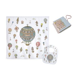 Atelier Choux Swaddle & Small Bib Gift Box Set – Hot Air Balloon