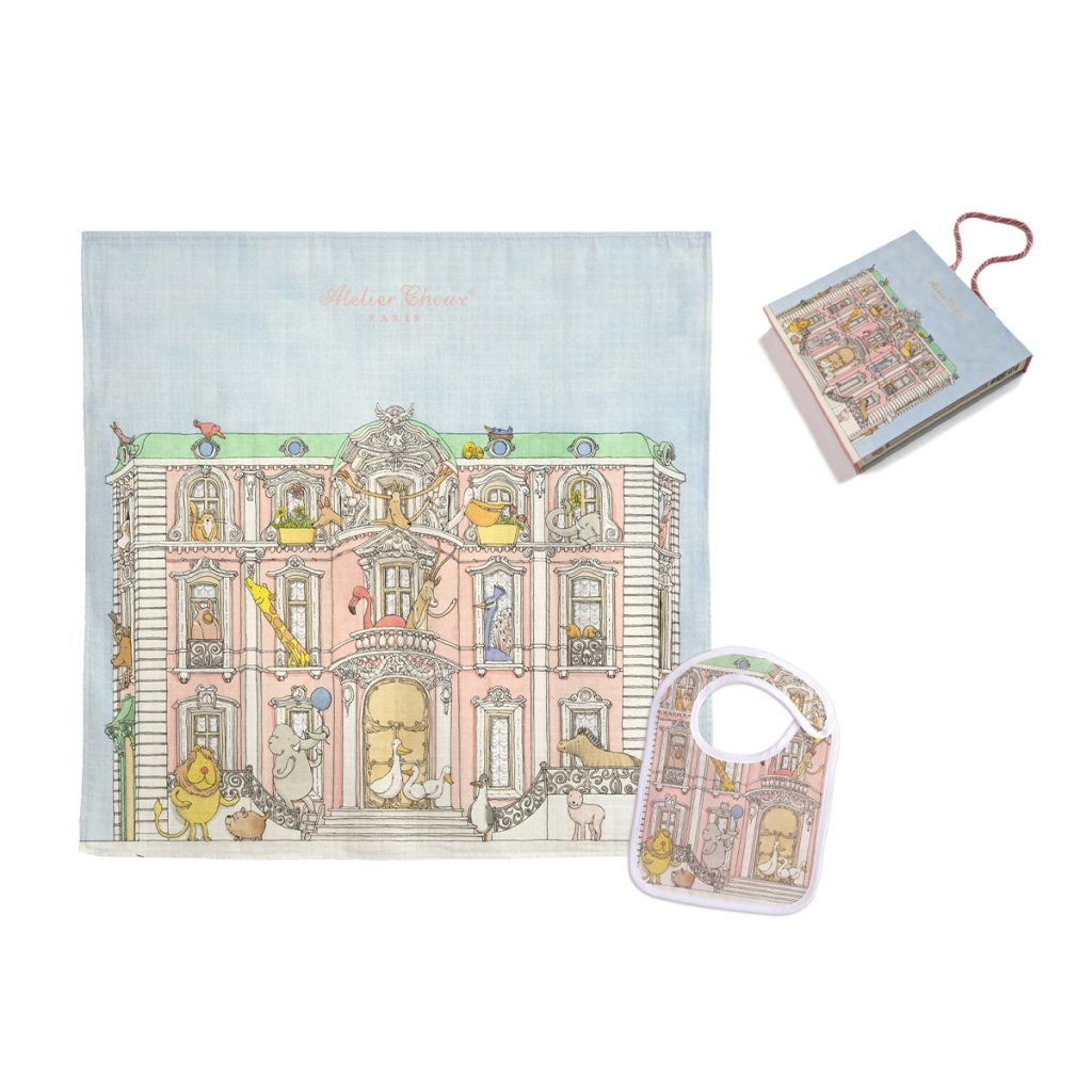 Atelier Choux Swaddle & Small Bib Gift Box Set - Monceau Mansion