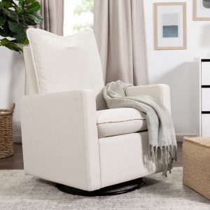 Babyletto Cali Pillowback Swivel Glider in Eco-Performance Fabric | Water Repellent & Stain Resistant