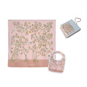 Atelier Choux Swaddle & Small Bib Gift Box Set - In Bloom Pink