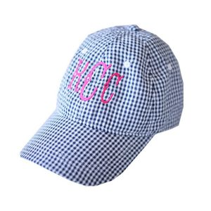 The Bella Bean Shop Personalized Gingham Hat - Blue
