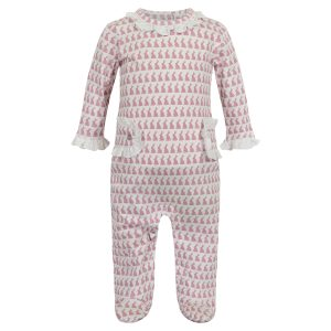 Lila + Hayes Baby Lucy Footed Romper - Bunny Love Pink