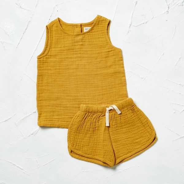 styled muslin chai tank and shorts 1