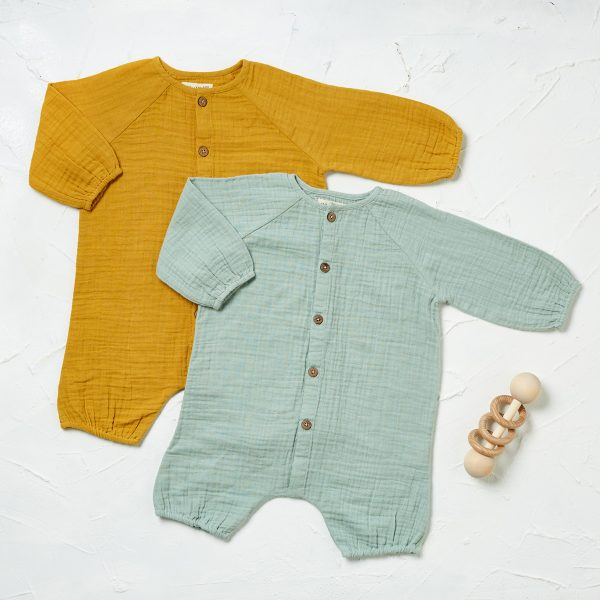 styled muslin ls rompers