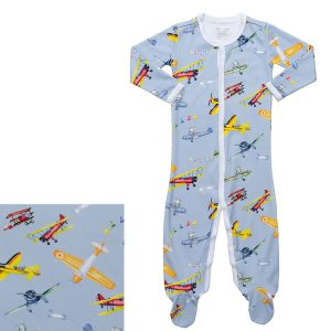 HART + LAND Baby/Toddler Pima Cotton Footed Bodysuit PJ - Fly Away