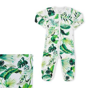 HART + LAND Baby/Toddler Organic Pima Cotton Footed Bodysuit PJ - Palm Dreams - Swatch