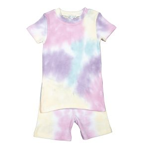Baby Noomie Toddler/Big Kid Two Piece Pajama Short Sleeve/Short Set - Rainbow Tie Dye