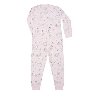 Baby Noomie Toddler Two Piece Pajama Short Sleeve/Short Set - Swan