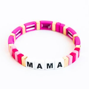 La Lumiere New York Custom Saying Tile Enamel Bracelet - Magenta