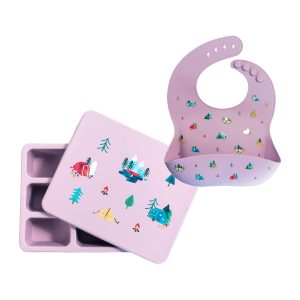 Austin Baby Collection Silicone Bib and Bento Box Set - Camper Violet