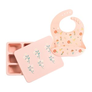 Austin Baby Collection Silicone Bib and Bento Box Set - Wildflower Ripe Peach