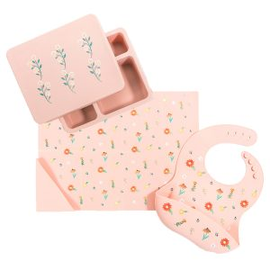 Austin Baby Collection Silicone Bento Box Set - Wildflower Ripe Peach