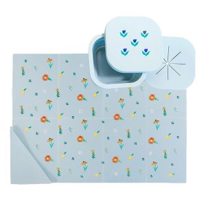 Austin Baby Collection Silicone On The Go Set - Wildflower Chambray Blue