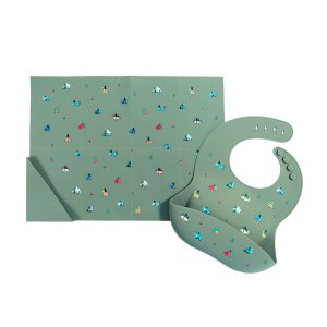 Austin Baby Collection Silicone Bib and Foldable Placemat Set - Camper Sage