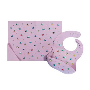 Austin Baby Collection Silicone Bib and Foldable Placemat Set - Camper Violet