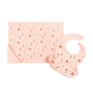 Austin Baby Collection Silicone Bib and Foldable Placemat Set - Wildflower Ripe Peach