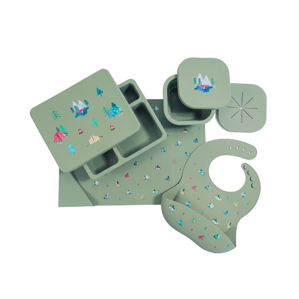 AustinBabyCollectionSiliconeMealtimeSetCamperSageGreen1