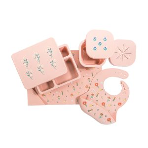 Austin Baby Collection Silicone Mealtime Set - Wildflower Ripe Peach