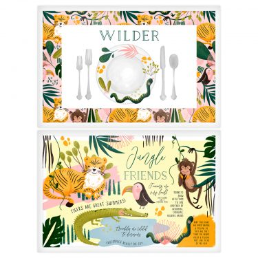 paper n peonies Personalized Reversible Placemat – Jungle