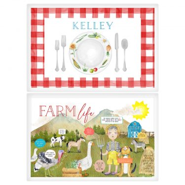 paper n peonies Personalized Reversible Placemat - Farm