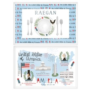 paper n peonies Personalized Reversible Placemat - Americana