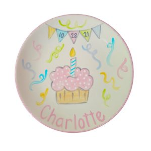 Caroline & Co Hand Painted Birthday Plate - Pastel