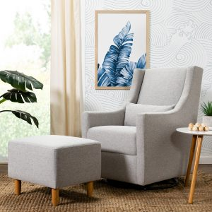 Babyletto Toco Swivel Glider and Ottoman in Eco-Performance Fabric | Water Repellent & Stain Resistant