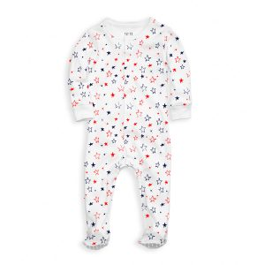 12   12 Baby Nightly Footed Pajama - Blue & Red Star Print