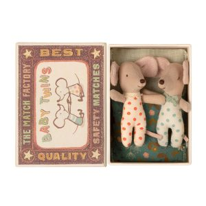 Maileg Baby Mice, Twins in a Matchbox