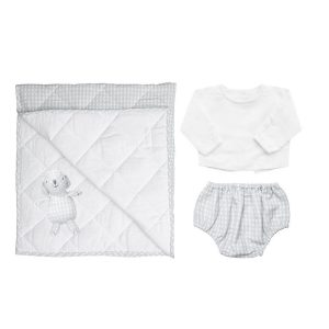 Louelle Newborn Essential Gift Set - Grey Gingham