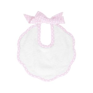 Louelle Scalloped Bib - Dusty Pink Gingham