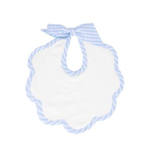 Louelle Scalloped Bib - Pale Blue Gingham