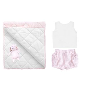 Louelle Newborn Essential Gift Set - Dusty pink gingham