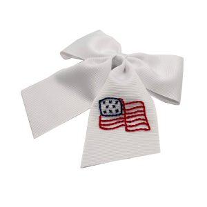 Winn and William American Flag Embroidered Bow