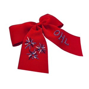 Winn and William Fireworks Embroidered Bow - Red