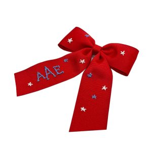 Winn and William Stars Embroidered Bow - Red
