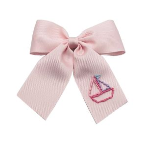 Winn and William Summer Boat Embroidered Bow - Pale Pink