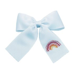 Winn and William Summer Rainbow Embroidered Bow - Pale Blue