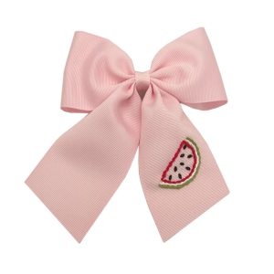 Winn and William Watermelon Embroidered Bow