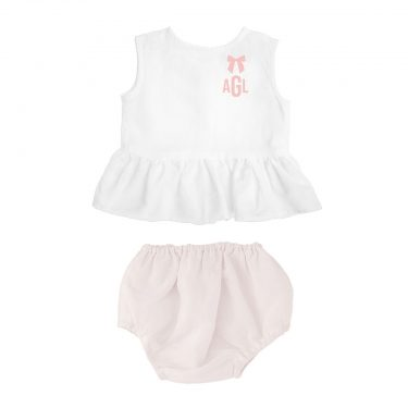 Louelle Personalized Bloomer and Sleeveless Blouse Summer Set – Blossom Pink