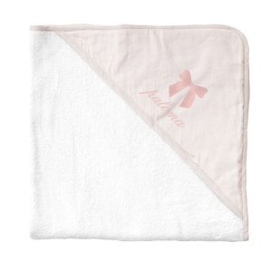 Louelle Personalized Hooded Towel and Wash Glove - Blossom Pink