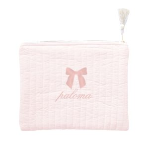 Louelle Personalized Linen Pouch - Blossom Pink