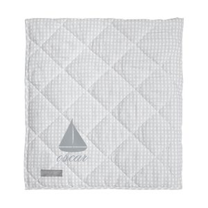 Louelle Personalized Play Mat - Grey Gingham