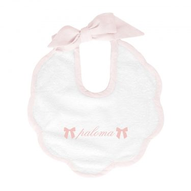 Louelle Personalized Scalloped Bib - Blossom Pink